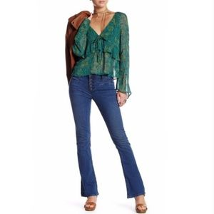 Free People Kaye Slim Flare Jeans Button Fly 30